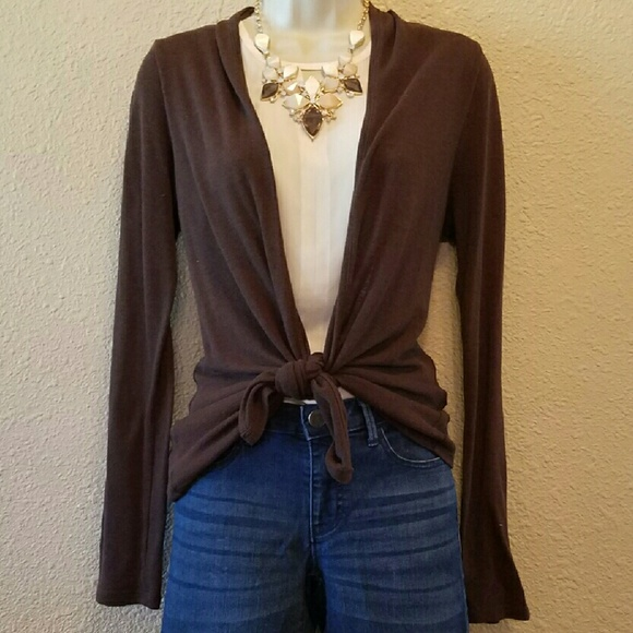 67% off Charlotte Russe Sweaters - Chocolate Brown Open Front ...