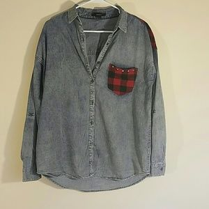 Denim and plaid long sleeve shirt by Forever 21