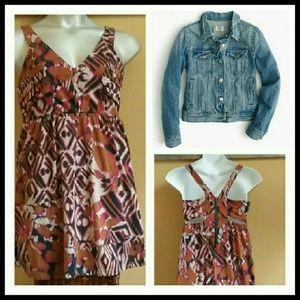 Belle Du Jour Dresses & Skirts - Geometric print cross back Boho babydoll dress