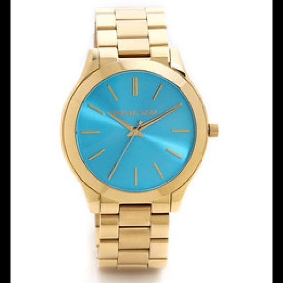 8f86687ab127f Michael Kors Slim Runway Blue Watch Gold-Tone NWT