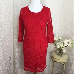 Spense Dresses & Skirts - Spense petite dress 3/4 sleeve intense red lace.