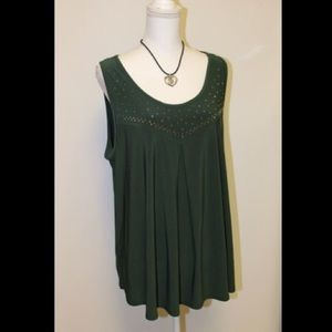 Tops - Plus Size Olive Studded Top - NWOT