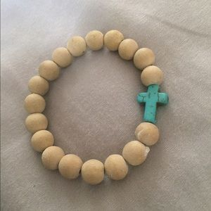 Jewelry - Turquoise Cross Wood Beaded Bracelet