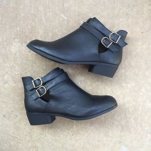 | new | Vegan Leather Buckle Ankle Booties
