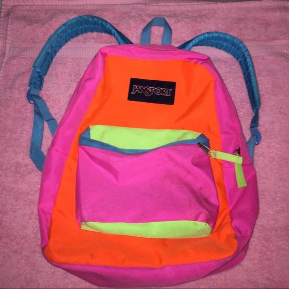 Jansport Handbags - Jansport neon color block backpack. af7d60ee55f00