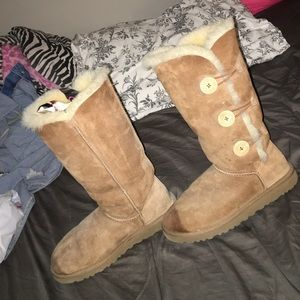 Ugg Bailey button tall boots in chestnut color
