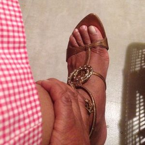 Sergio Rossi Shoes - Bronze leather embossed snake ankle Straps.