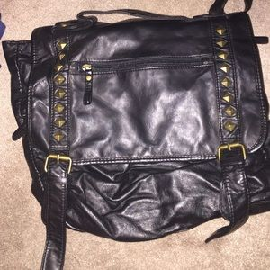 Studded Black Faux Leather Backpack/Purse