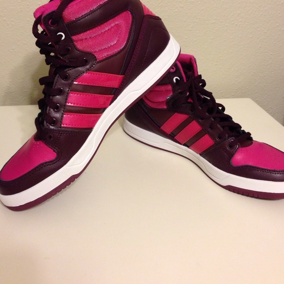All pink adidas high tops