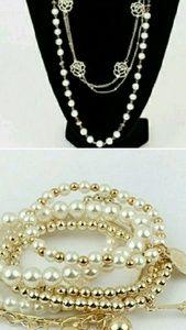 Jewelry - BOGO Jewelry: Pearl & Gold Necklace/Bracelet (NWT)