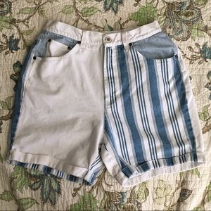 Vintage 90s striped high waisted jean shorts