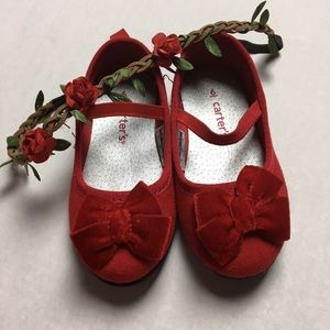 Carter's Other - 🎉HP🎉 Adorable Red Mary Janes With Velvet Bows ❤️