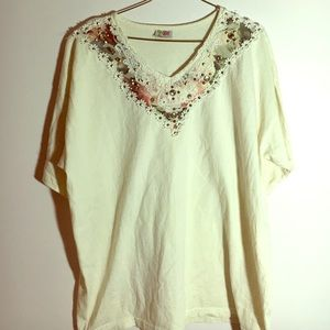 Cactus Tops - Cactus 100% cotton embroidered and embellished top