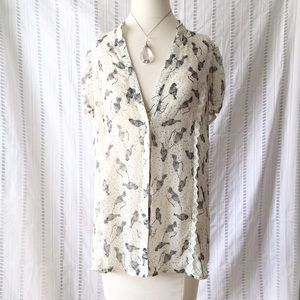 Love Squared Tops - Love Squared Bird Print Sheer Button Blouse L