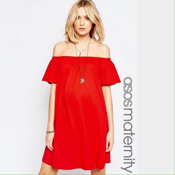 0ab03a8d4f ASOS Maternity Red Off Shoulder Mini Dress