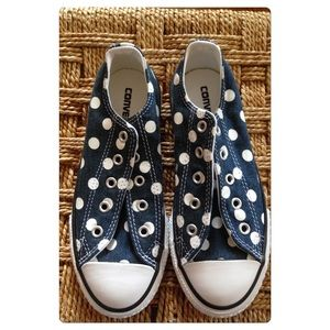 Converse Other - Final price NWOT Denim polka dot converse!