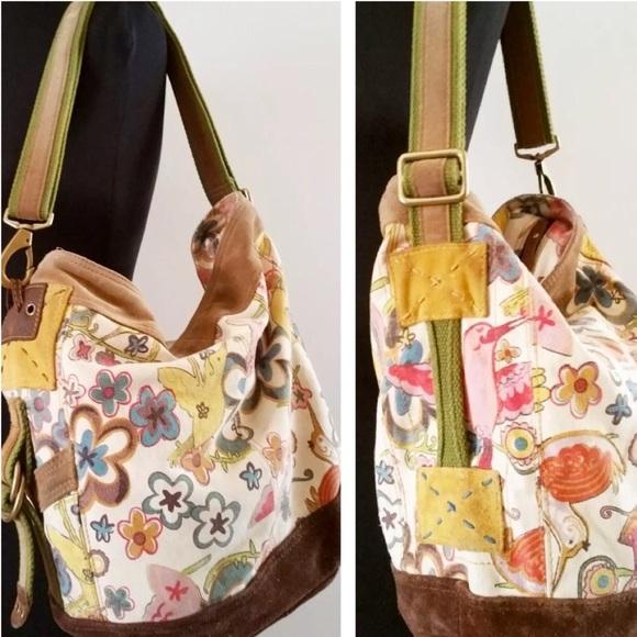 Lucky Brand Handbags - LUCKY BRAND Canvas Suede Floral Bird HOBO BAG EUC 09fd0b68050e3