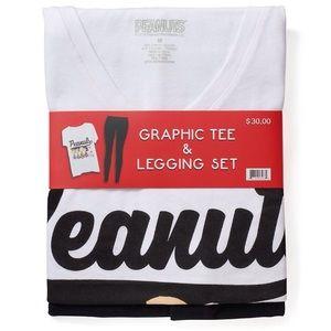 Peanuts Tops - New Peanuts Graphic Vneck Tee & Legging Set XSmall