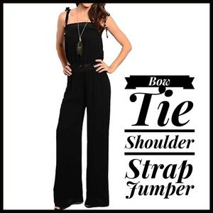 Boutique Pants - Shoulder Bow Jumpsuit