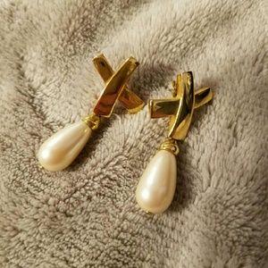 Gold tone pierced pearl earrings
