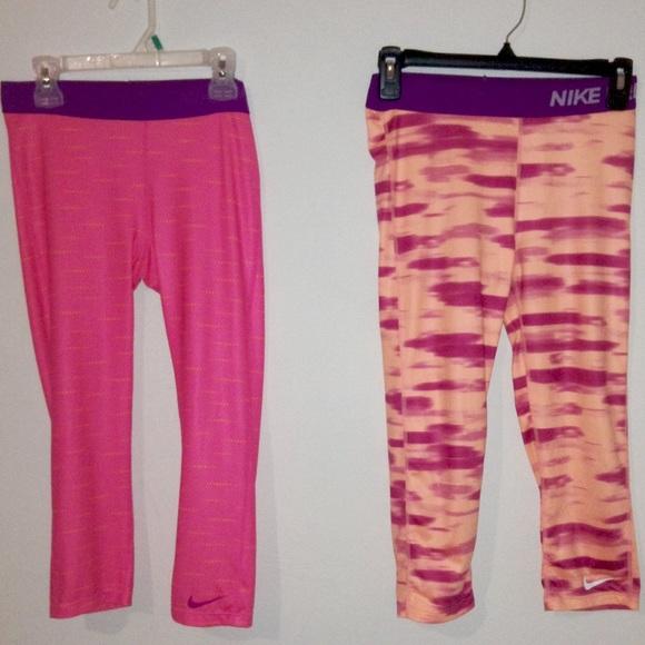 Small Nike Girls Pro Hypercool Abstract-Print Capri Leggings 727970