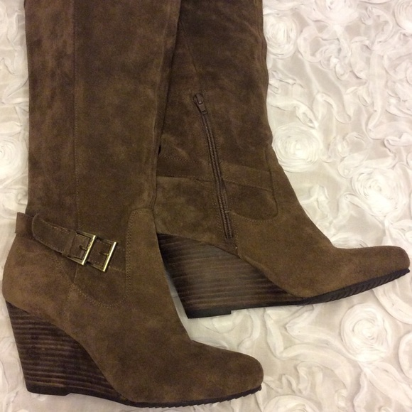 bcbgeneration brown suede bcbg wedge boots from