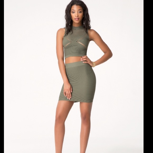 67% off bebe Dresses & Skirts - Bebe olive green Mini skirt size M ...