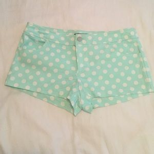 Forever 21 Mint green and white polka dot shorts