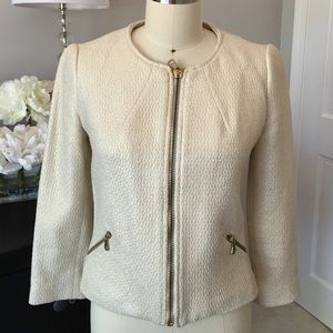 Zara beige and gold metallic jacket size small