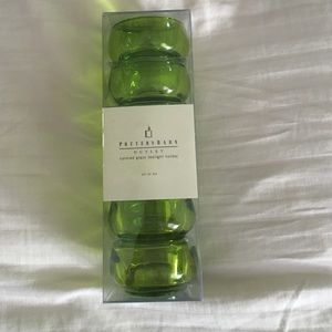 Pottery Barn Outlet green glass tealight holder