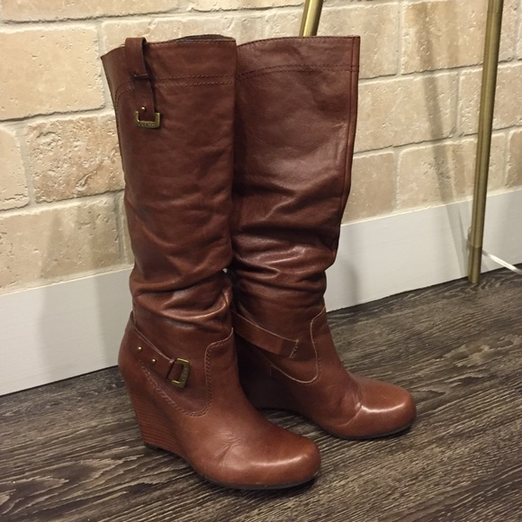 70 guess shoes brown leather guess wedge boot from