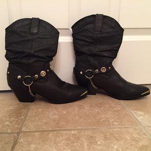 Dingo Shoes - Dingo Olivia Black Leather Cowboy Boots