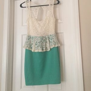 Dresses & Skirts - White and green lace peplum dress