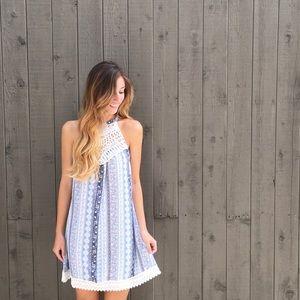 | new | blue crochet shift dress