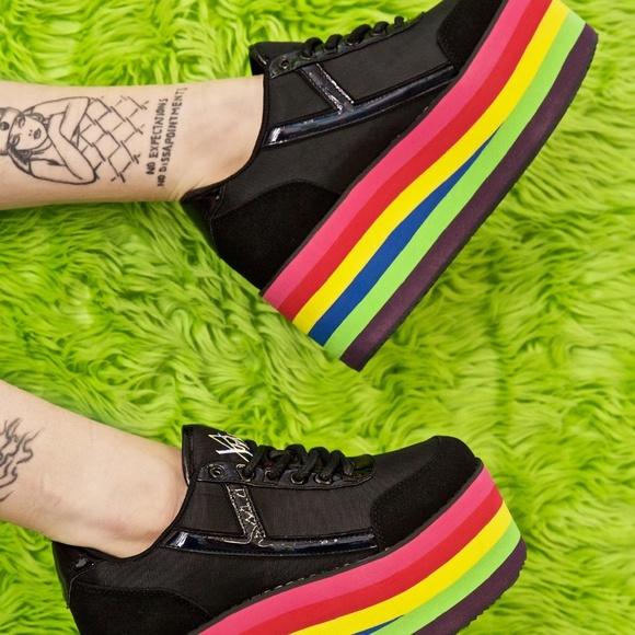 YRU Karazii Dolls Kill Rainbow Platform Sneakers 7
