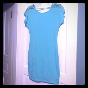 Moa Moa Dresses & Skirts - NWT! Mint dress with gold spike shoulder detail