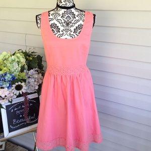 Leo meets Virgo Dresses & Skirts - Peach Leo Meets Virgo Cutout Back Lace/Linen Dress