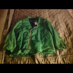 Twin-Set Jackets & Blazers - Twin Set Cropped Leather Moto Jacket Size L