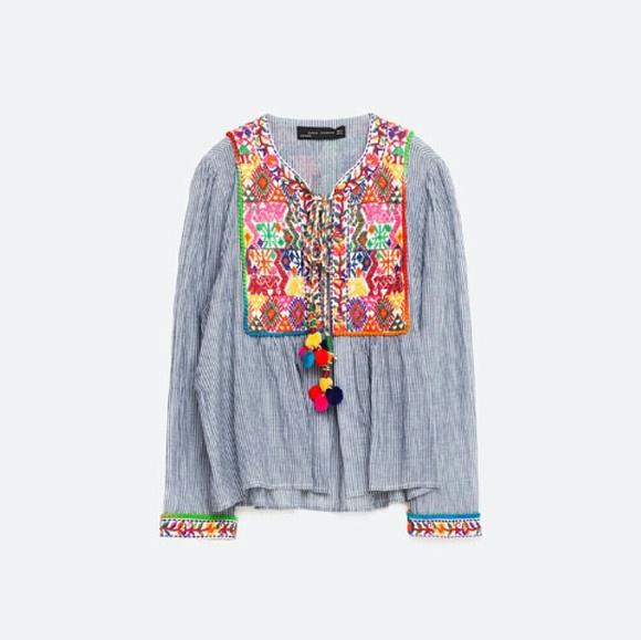 Zara Jackets Coats Short Embroidered Jacket With Pom Poms Poshmark