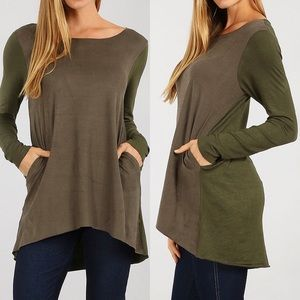 Tops - Olive 2 side Pockets Casual Chic Top