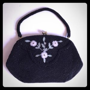 Vintage Black Beaded Clutch Evening Bag Japan