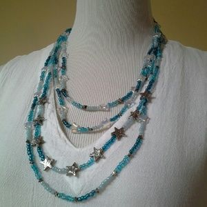 Jewelry - Handcrafted Glass Stars & Hearts Necklace