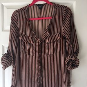 Brown and black striped sheer blouse