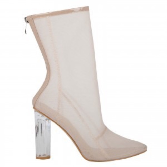 f1baf466267 Nude mesh ankle boots with Perspex heel