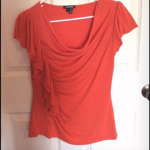 My Michelle Tops - Orange side ruffle ruched scoop neck blouse