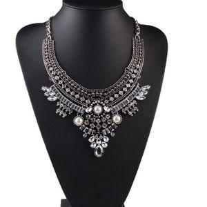 Boho Gypsy Silver Crystal Bib Statement Necklace