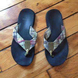 J. Crew Shoes - J. Crew Vintage Madras Print Flip Flop Sandals