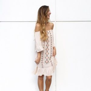 | new | blush embroidered dress