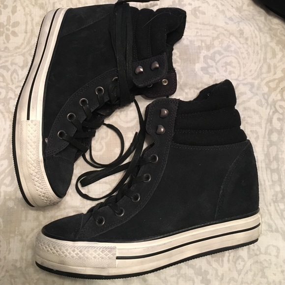 13c91ce6739f Converse Shoes - Converse Black Suede Wedge Sneakers