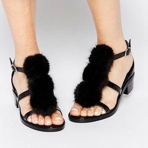 New ASOS fleming pop pom black sandals 6